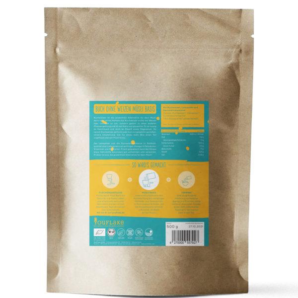 YouFlake Buch ohne Weizen Müsli Basis 2,5 kg Back